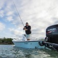 Capt. Kyle Kelso casting at a fish.